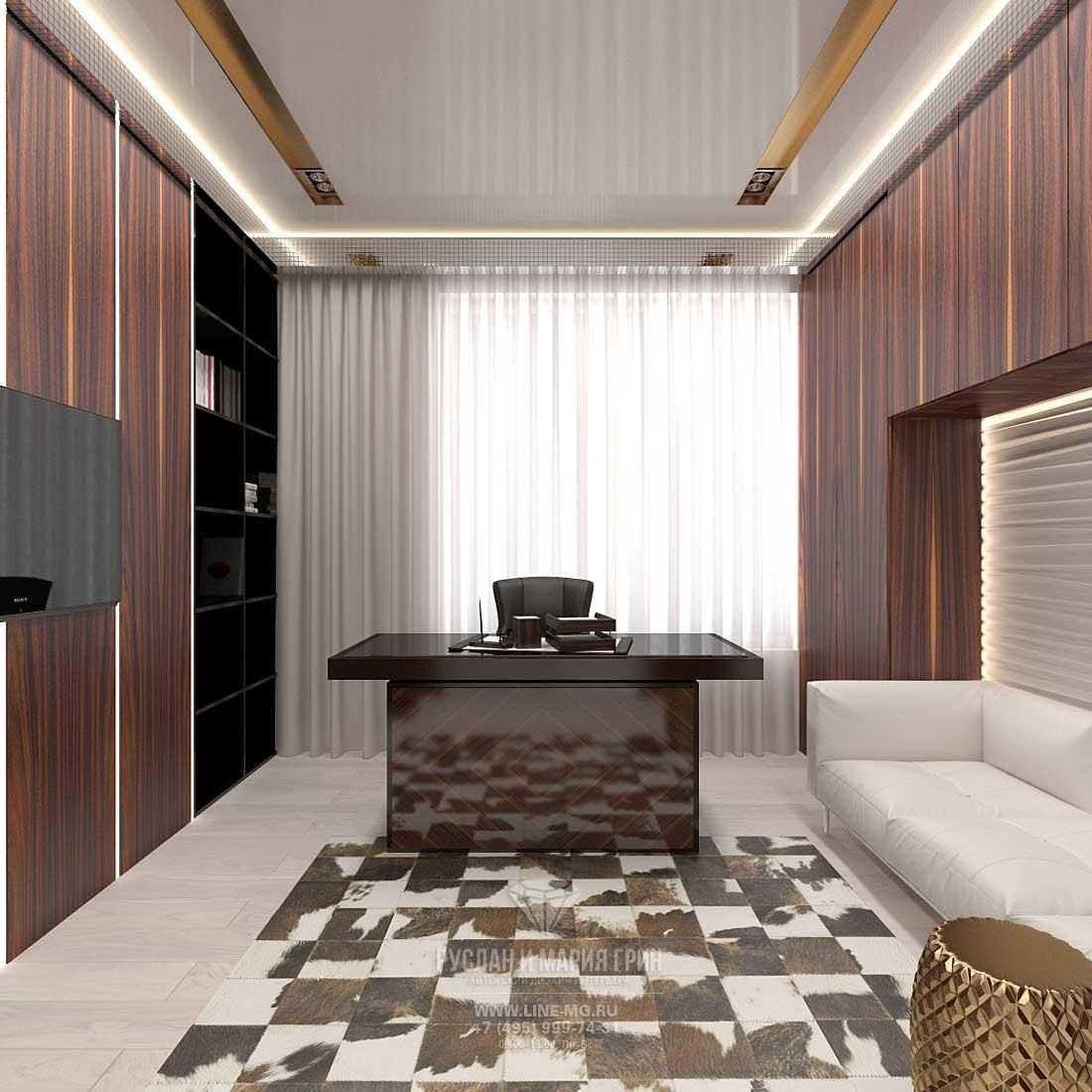 Дизайн интерьера кабинета в квартире. Фото 2016