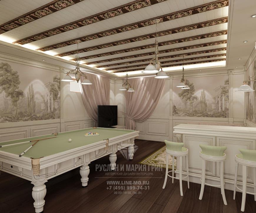 Дизайн бильярдной в доме в Барвихе