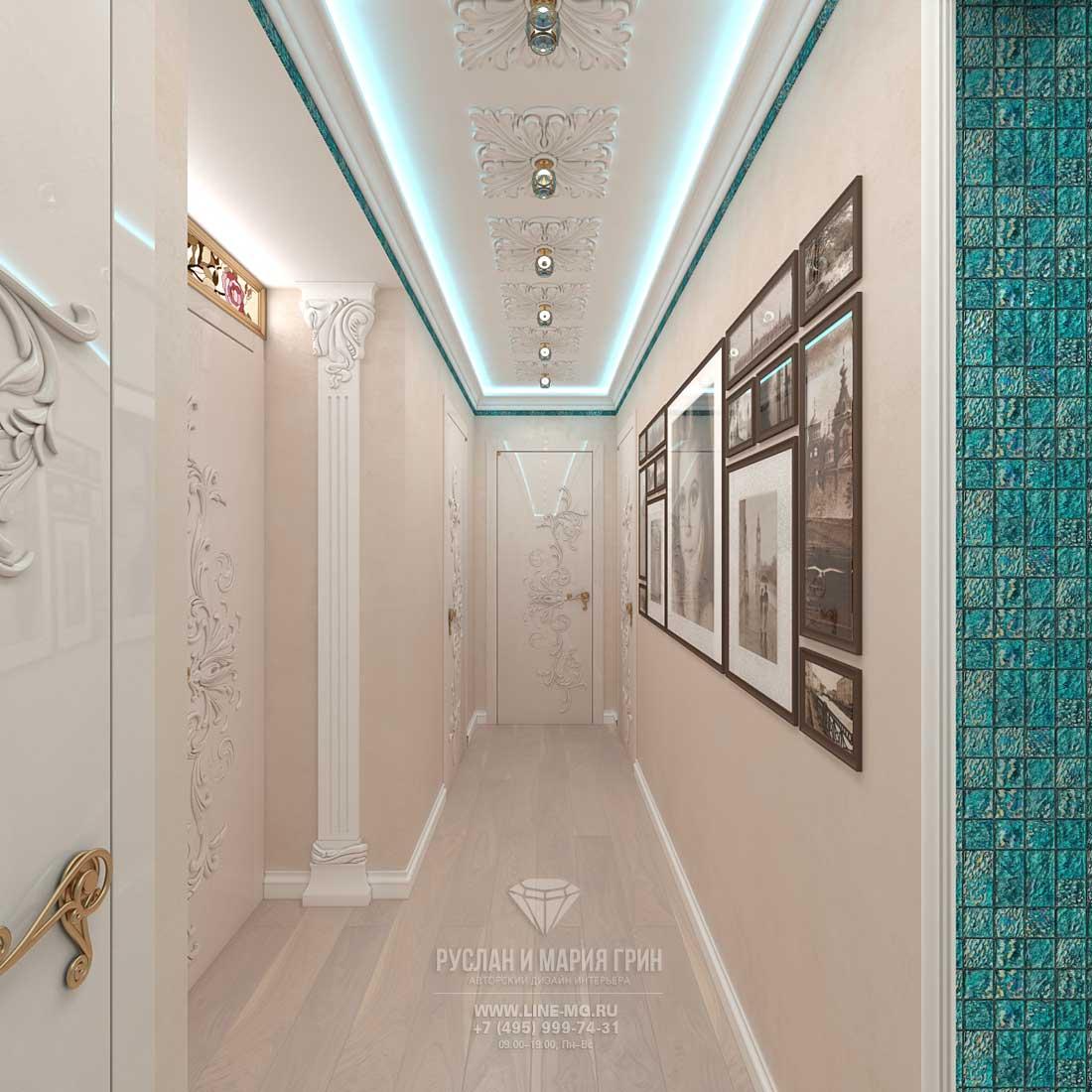 Дизайн коридора с пилястрами