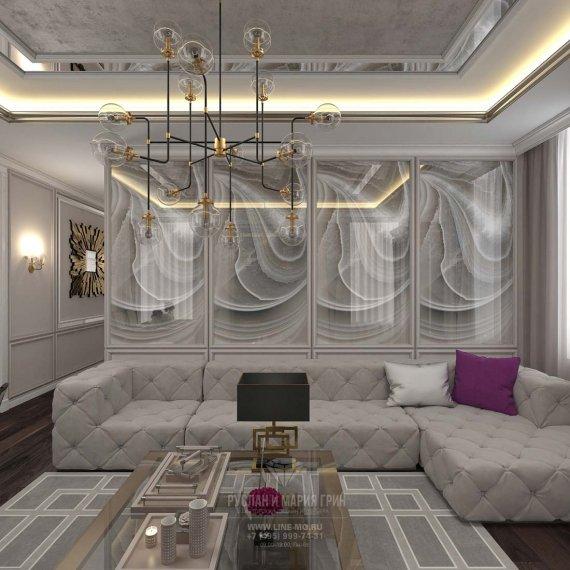 Красивая гостиная в стиле арт-деко. Фото интерьера