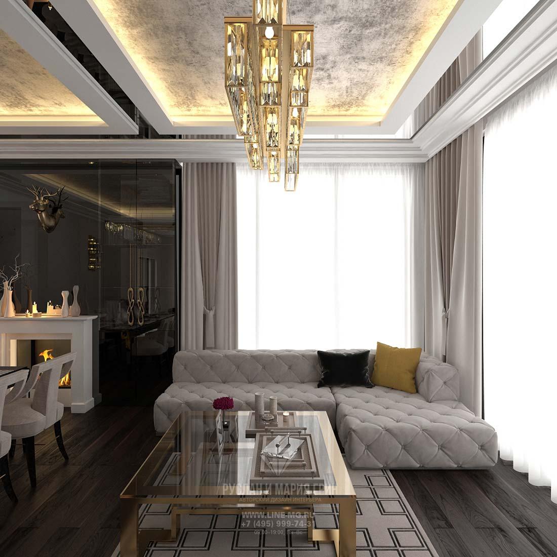 Дизайн гостиной на первом этаже коттеджа: фото