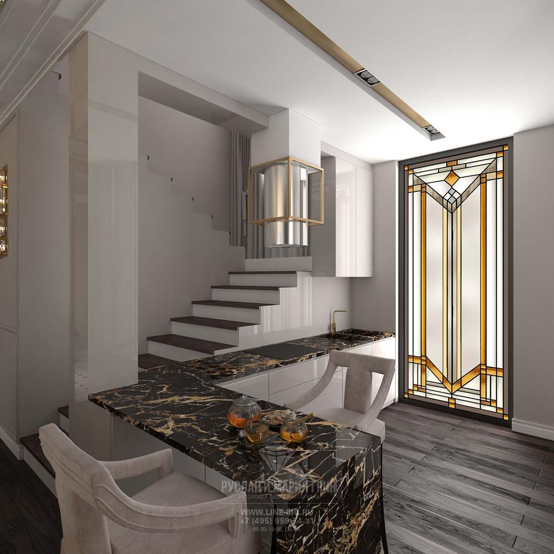 Дизайн кухни на первом этаже