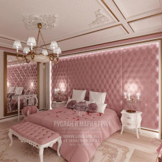 Дизайн интерьера розовой спальни в загородном доме