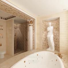Дизайн интерьера ванной комнаты в античном стиле