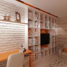 Дизайн интерьера кабинета с элементами лофта