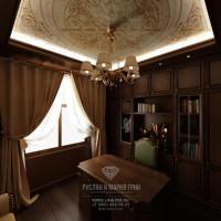 Дизайн интерьера кабинета в доме из бруса