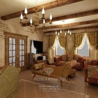 Дизайн интерьера гостиной в доме из бруса