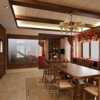 Дизайн интерьера столовой в загородном доме из бруса
