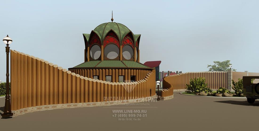 Дизайн фасада въездной группы коттеджного поселка