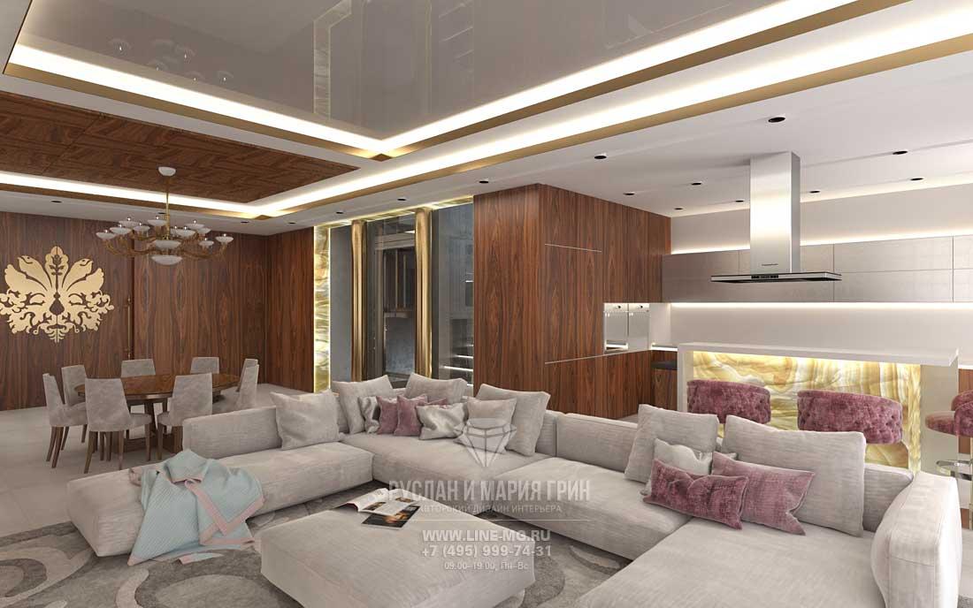 Дизайн интерьера гостиной в загородном доме. Фото 2016