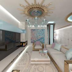 Дизайн интерьера гостиной в загородном доме в современном стиле