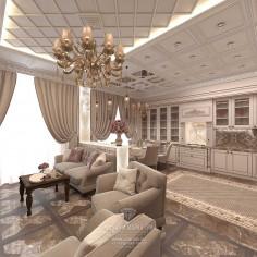 Дизайн интерьера кухни-гостиной в бежевых тонах