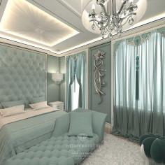 Дизайн интерьера бирюзовой спальни в загородном доме