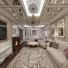 Дизайн интерьера гостиной в классическом стиле с элементами арт-деко