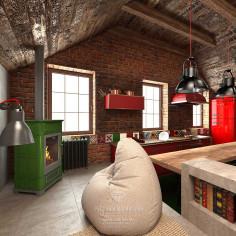 Дизайн интерьера мансарды в стиле лофт