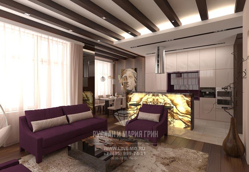 Дизайн кухни, совмещенной с гостиной. Фото коттеджа в экостиле