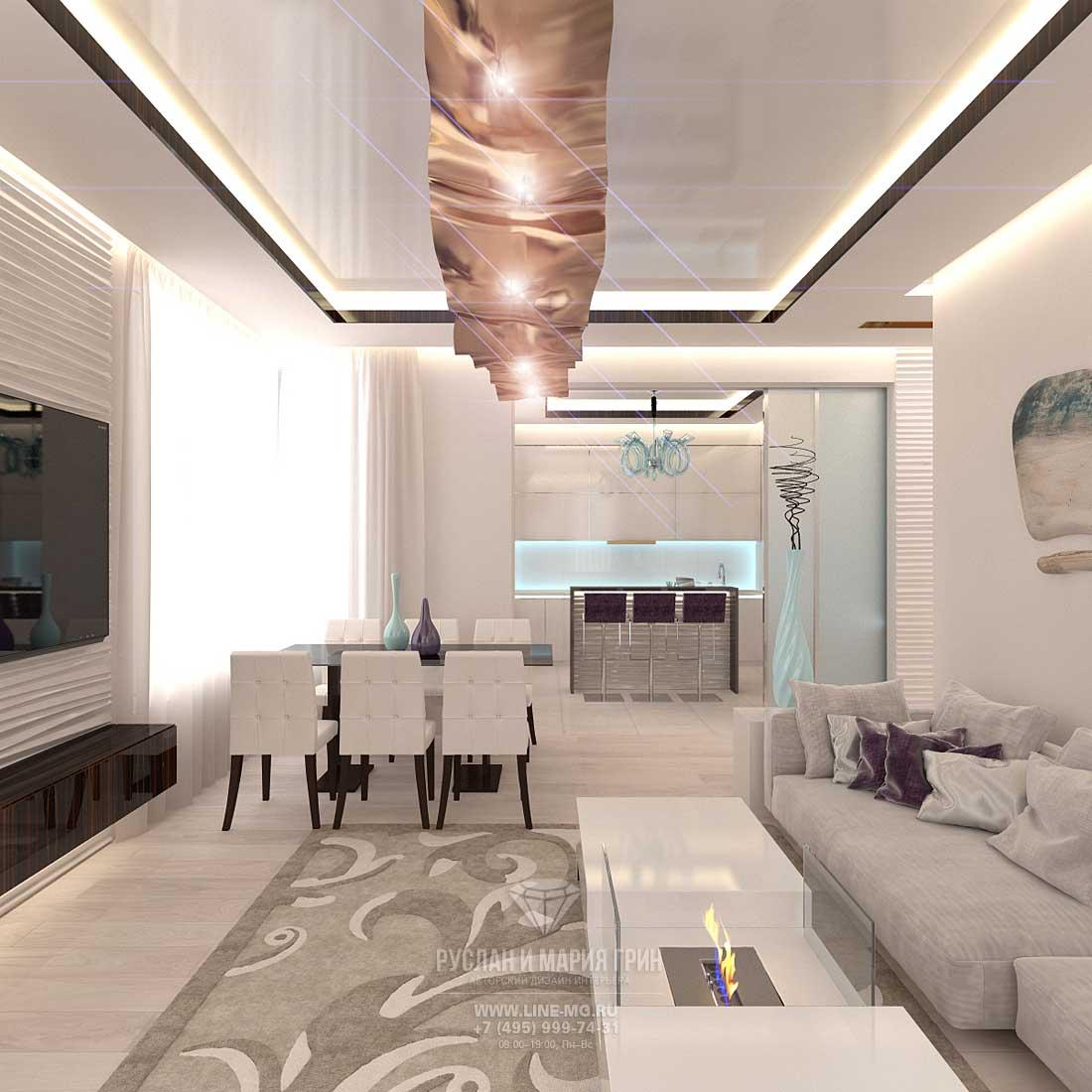 Дизайн гостиной, совмещенной с кухней. Фото интерьера квартиры в стиле ар-деко