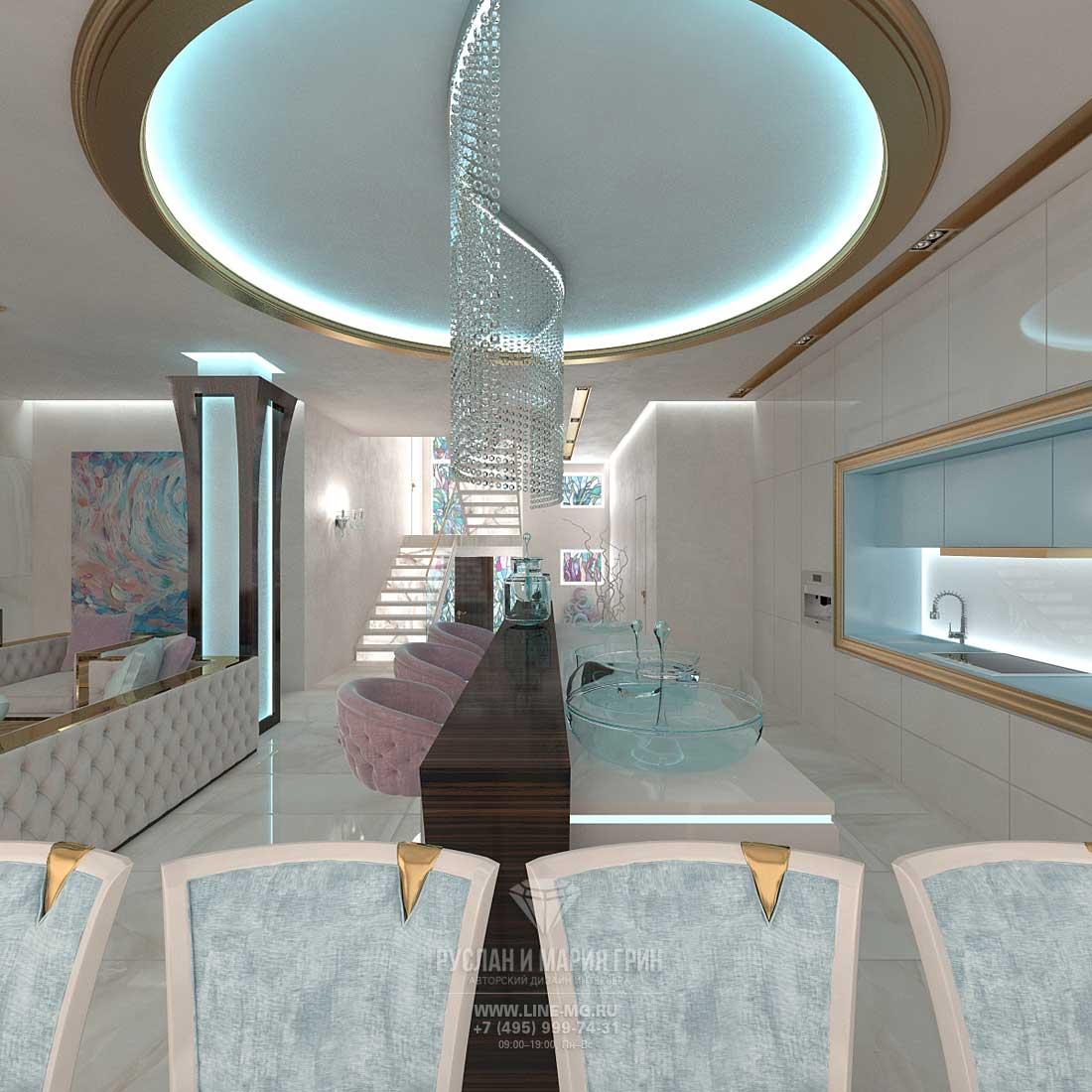 Дизайн кухни, совмещенной с гостиной. Фото интерьера частного дома