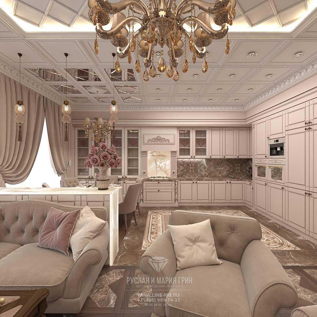 Дизайн гостиной, совмещенной с кухней. Фото интерьера квартиры