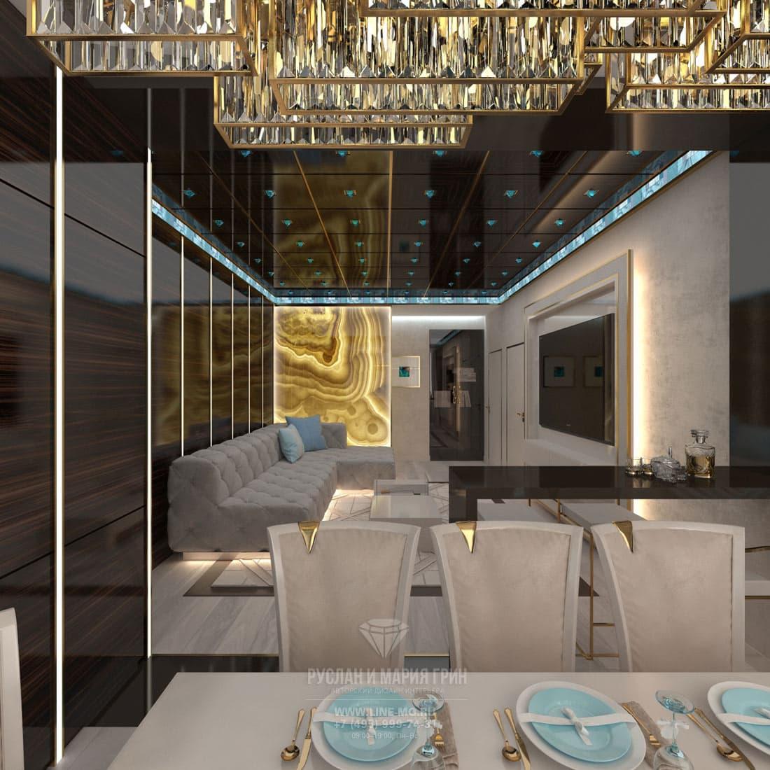 Дизайн гостиной, совмещенной с кухней. Фото квартиры в стиле ар-деко