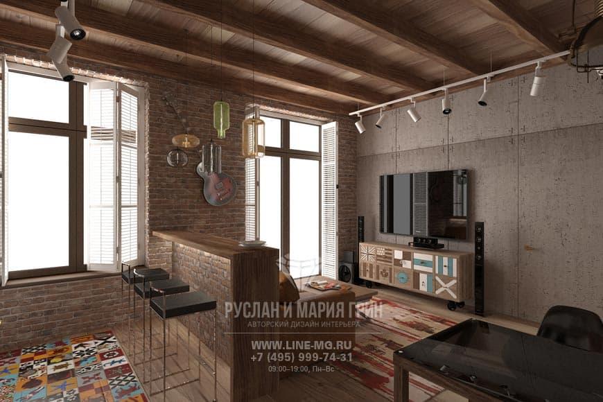 Дизайн кухни, совмещенной с гостиной. Фото интерьера с барной стойкой