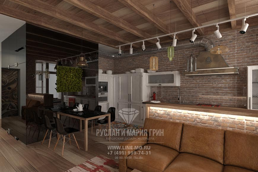 Дизайн кухни, совмещенной с гостиной. Фото квартиры в стиле лофт