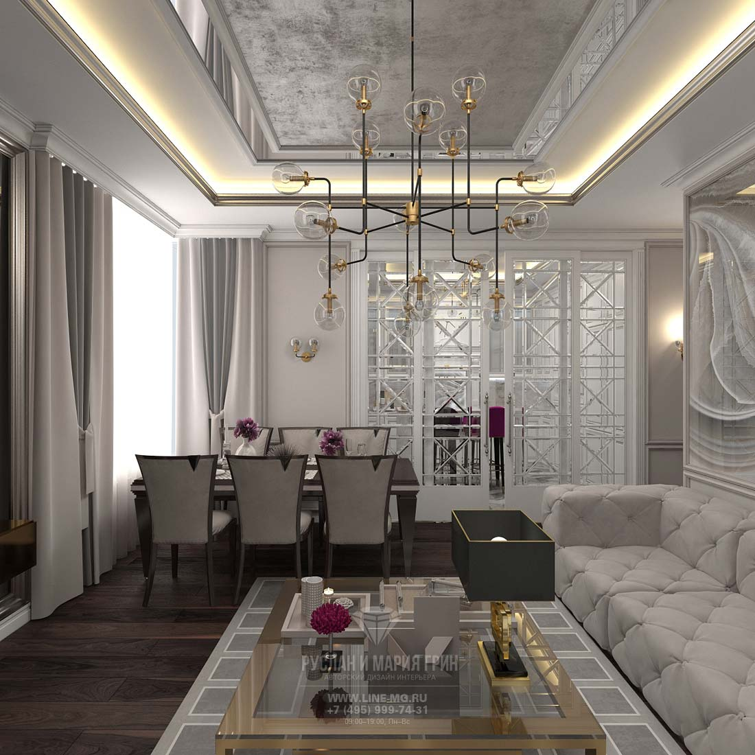 Дизайн гостиной, совмещенной с кухней. Фото трехкомнатной квартиры в ЖК «Достояние»