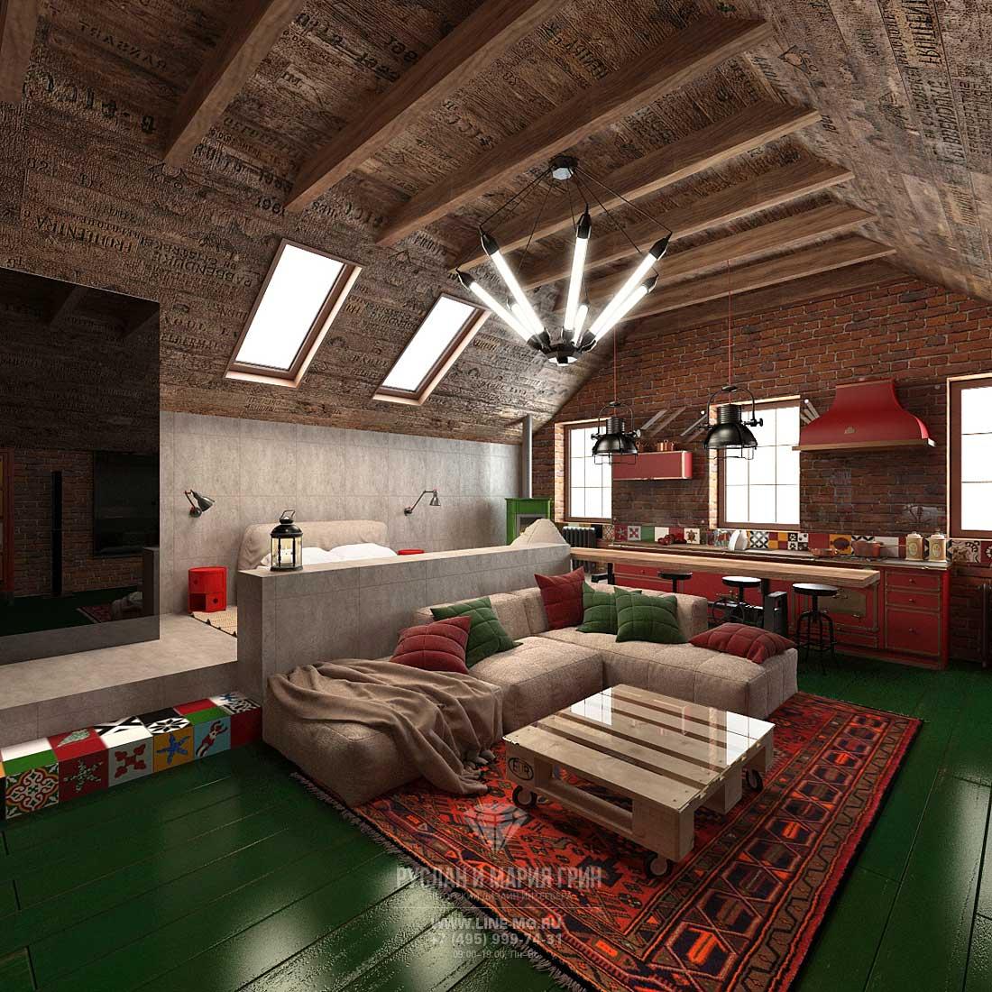 Дизайн кухни, совмещенной с гостиной. Фото мансарды