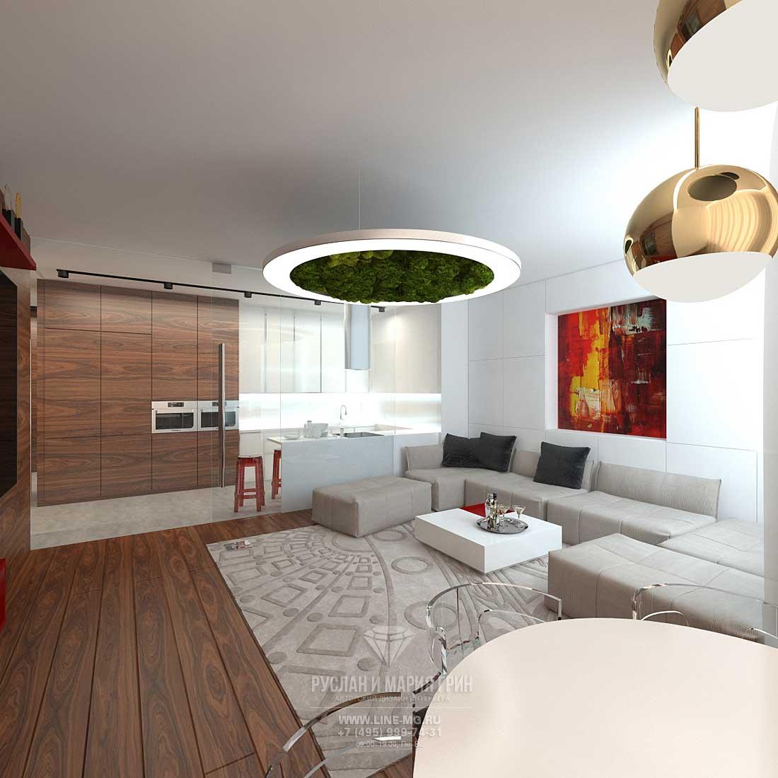 Дизайн гостиной, совмещенной с кухней. Фото трехкомнатной квартиры