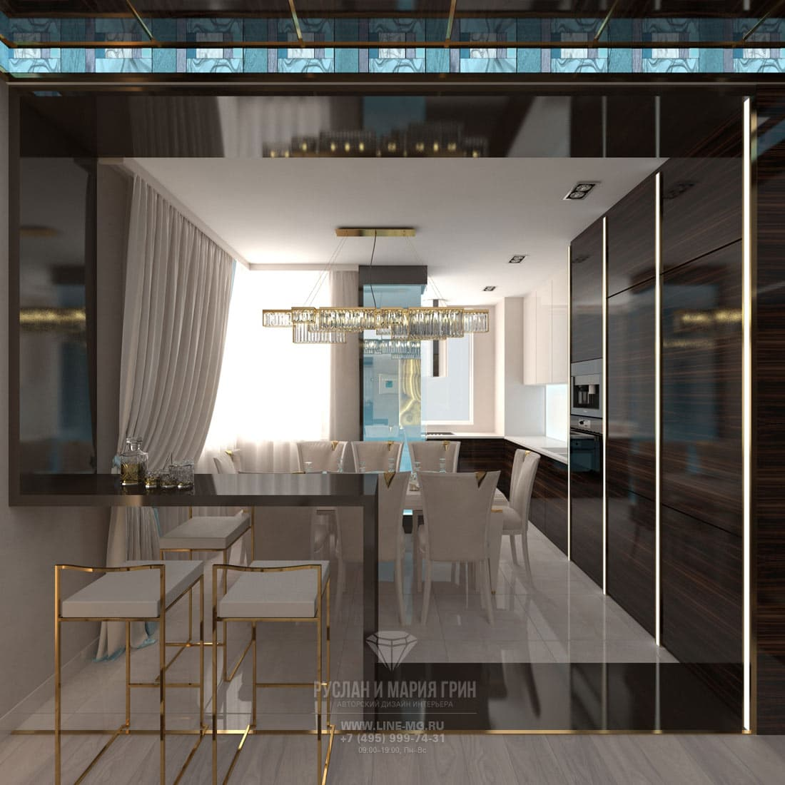 Дизайн кухни, совмещенной с гостиной. Фото с барной стойкой