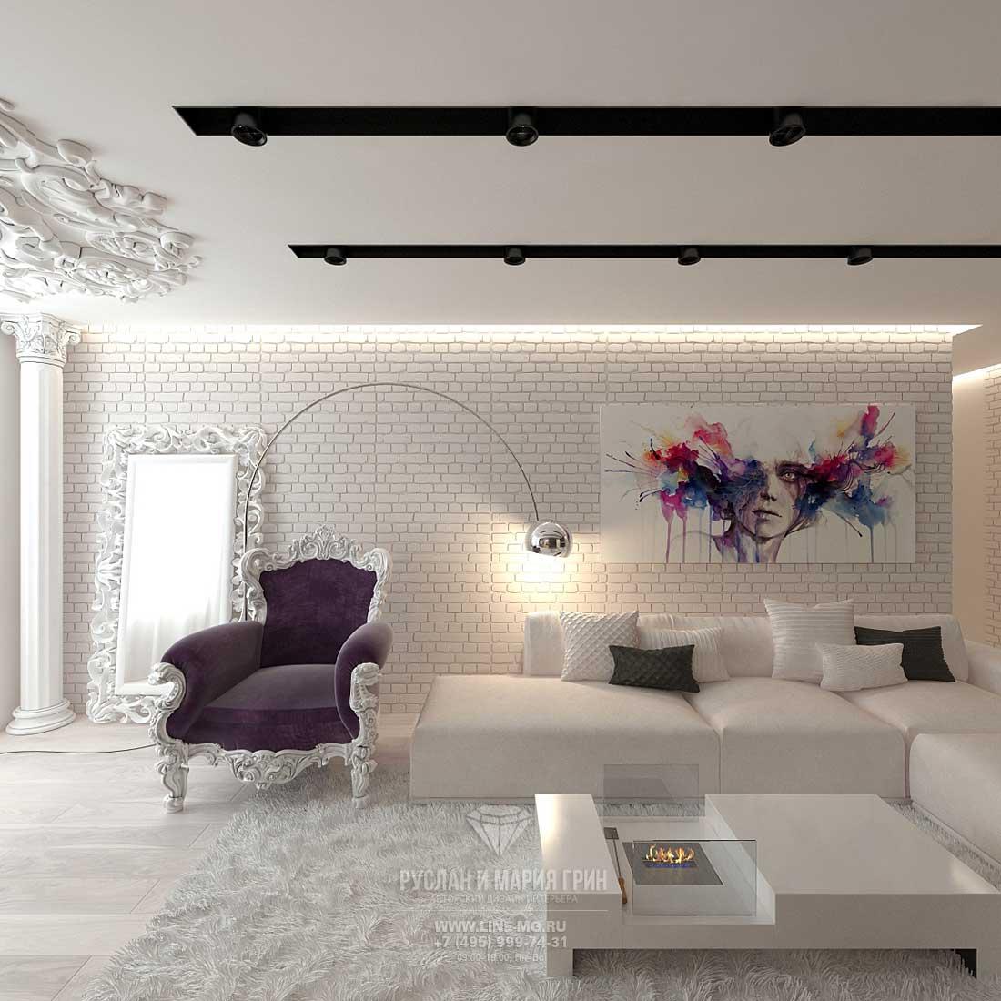 Элитный ремонт квартиры в Москве. Интерьер гостиной в современном стиле