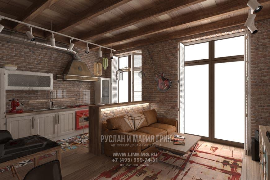 Элитный ремонт квартиры в Москве. Фото кухни-гостиной в стиле лофт