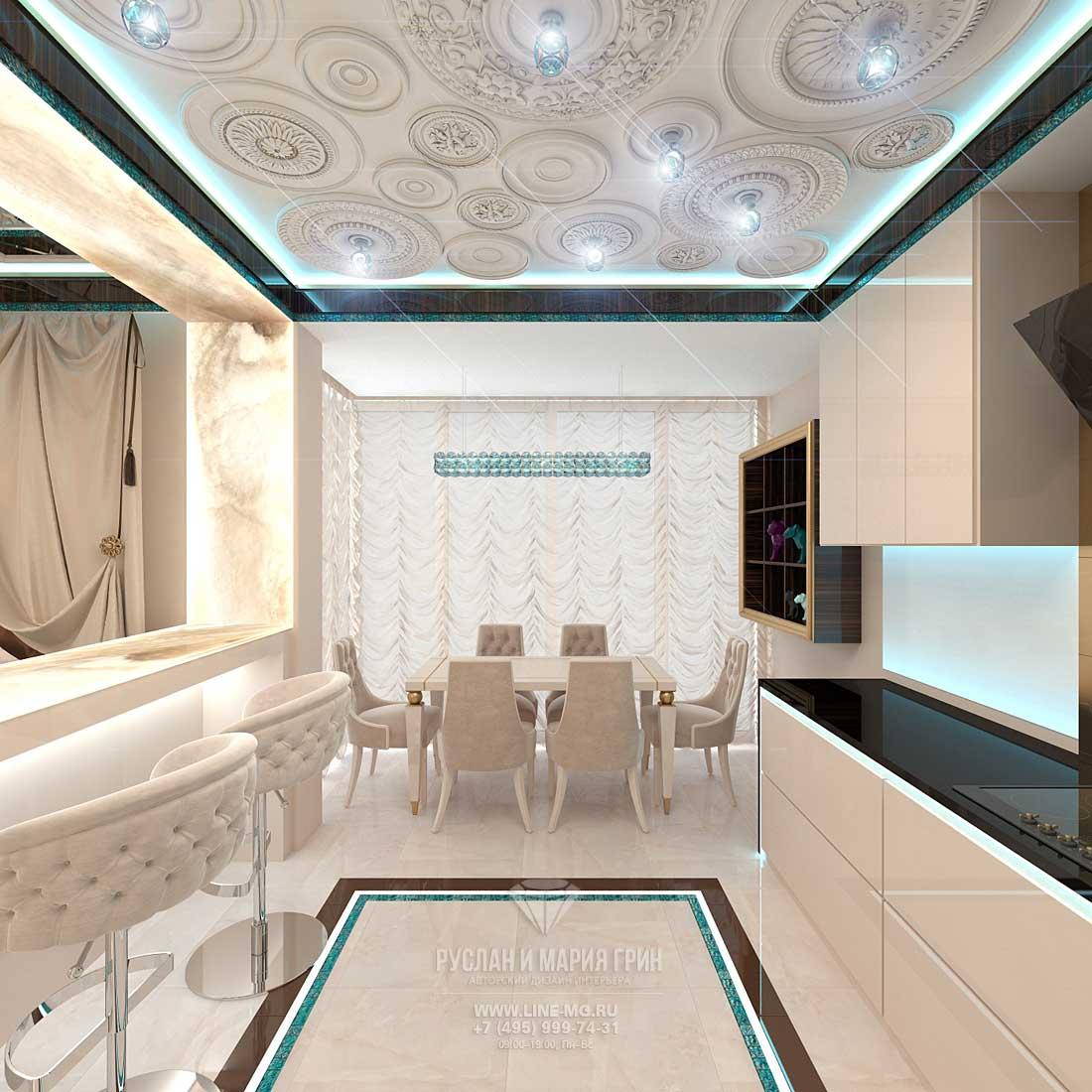 Элитный ремонт квартиры в Москве. Фото интерьера кухни