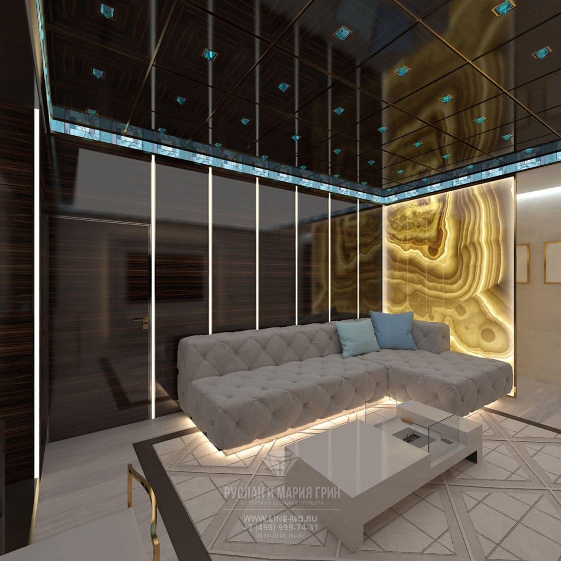 Элитный ремонт квартиры в Москве. Фото интерьера гостиной в стиле ар-деко