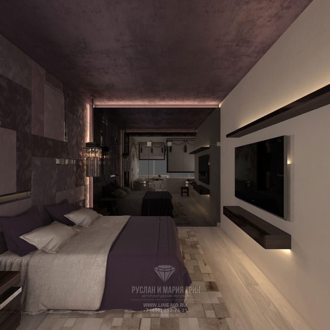 Элитный ремонт квартиры в Москве. Фото интерьера спальни в стиле ар-деко