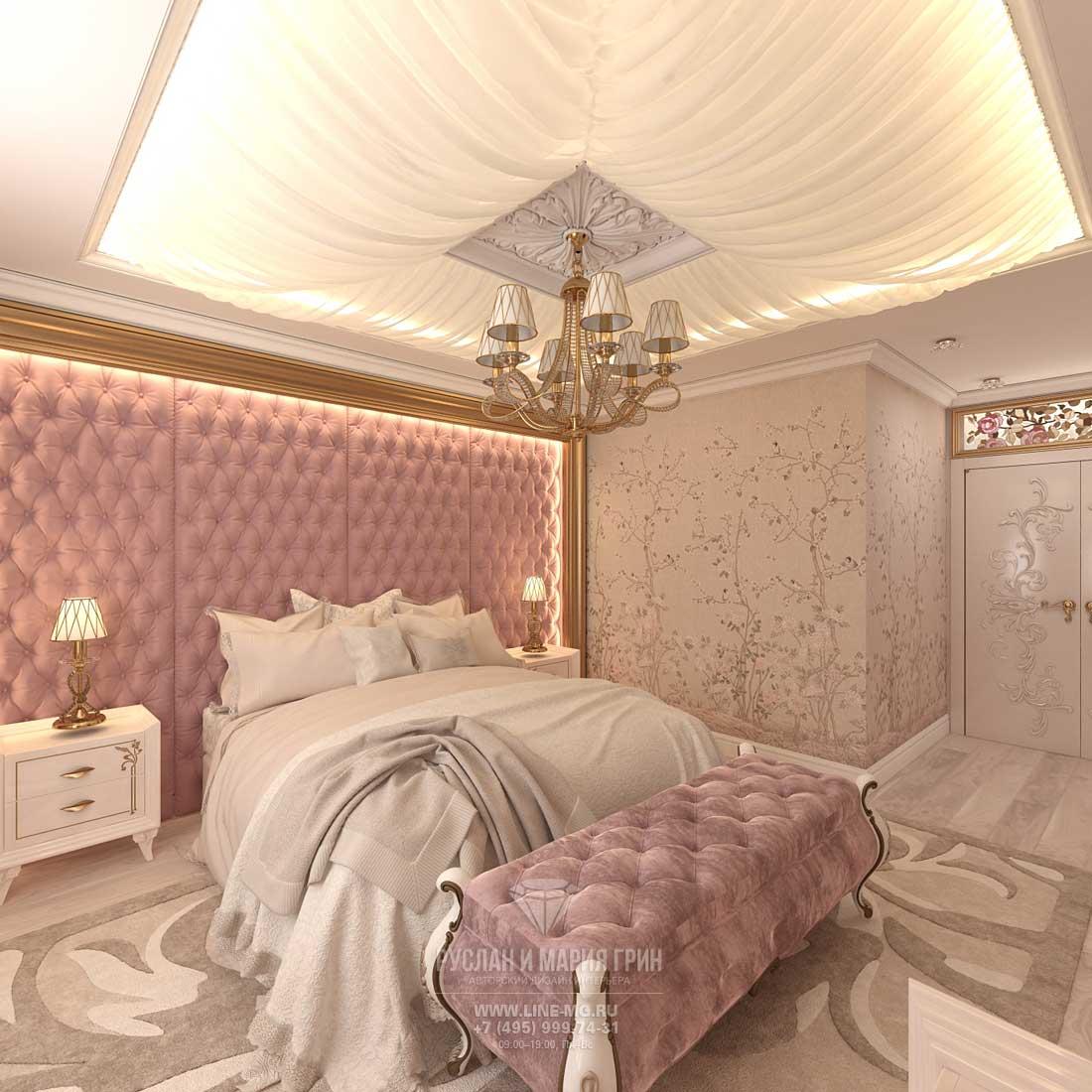 Элитный ремонт квартиры в Москве. Фото спальни с «каретной» стяжкой в отделке