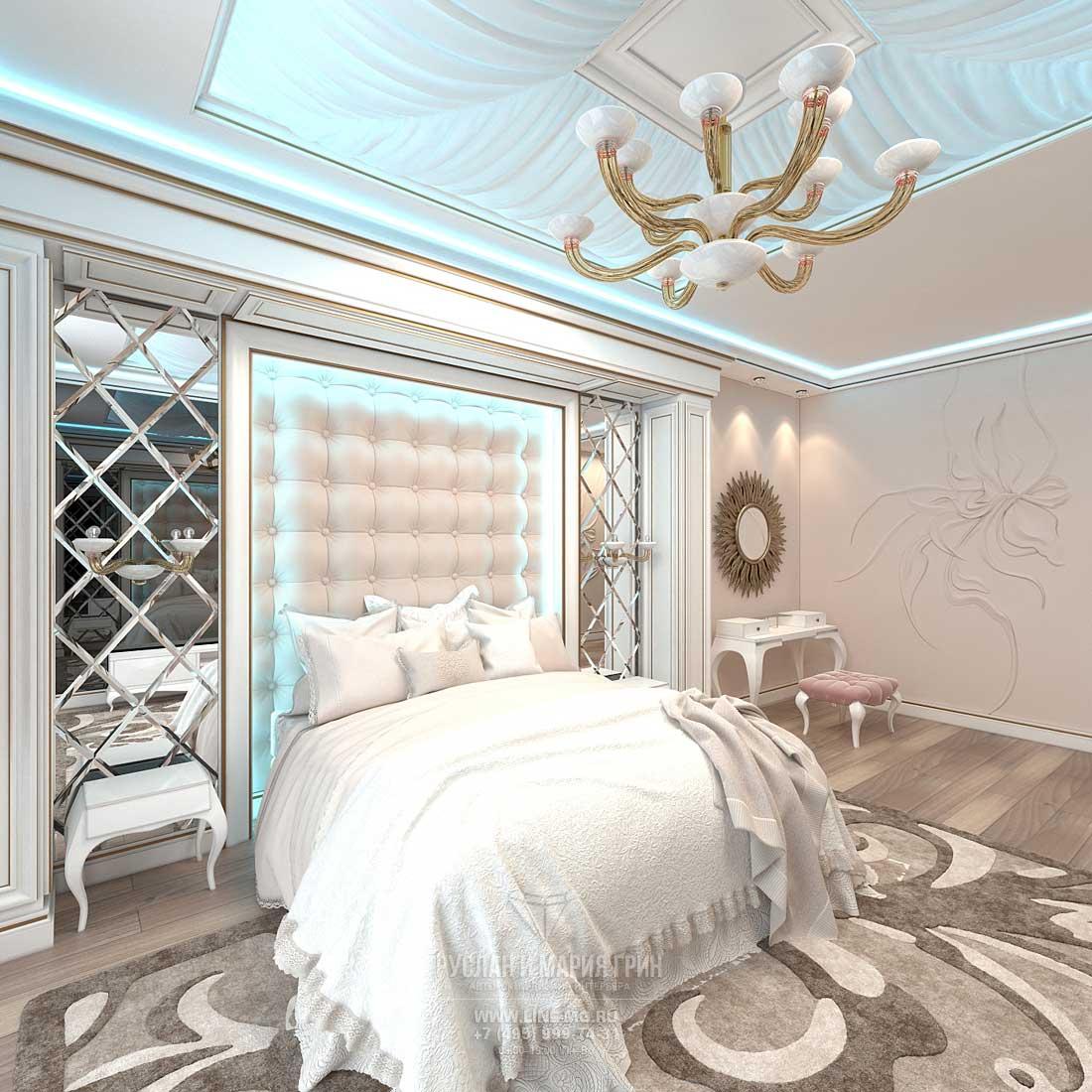 Элитный ремонт квартиры в Москве. Фото интерьера спальни
