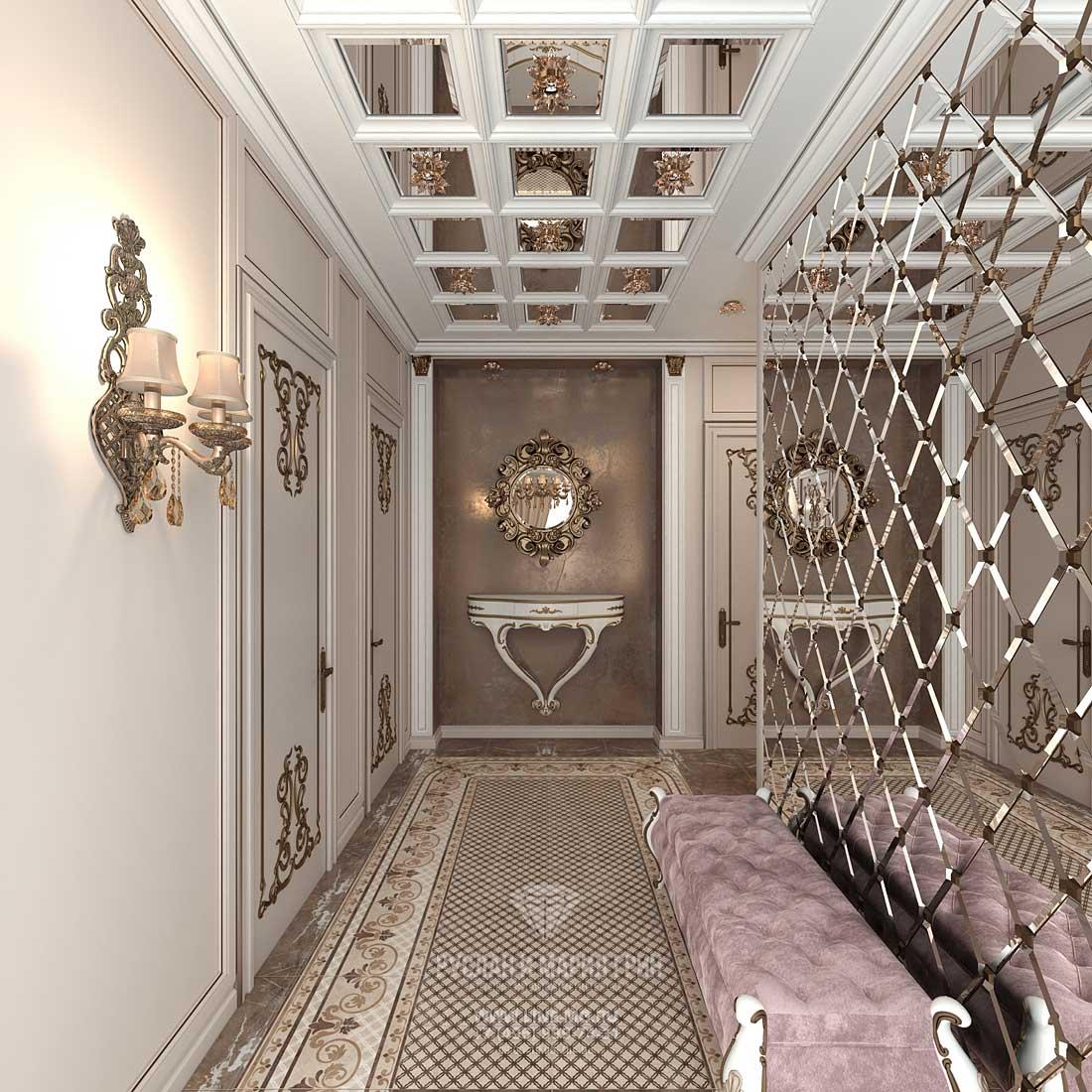 Элитный ремонт квартиры в Москве. Фото интерьера прихожей в стиле ар-деко