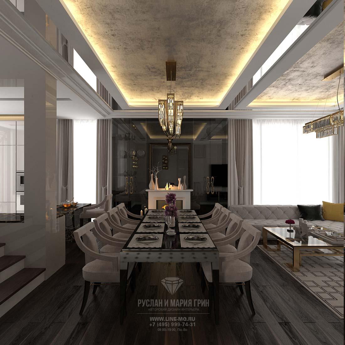 Кухня-гостиная с камином по центру