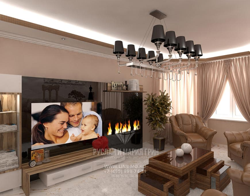 Электрический камин с полочкой для декора в гостиной