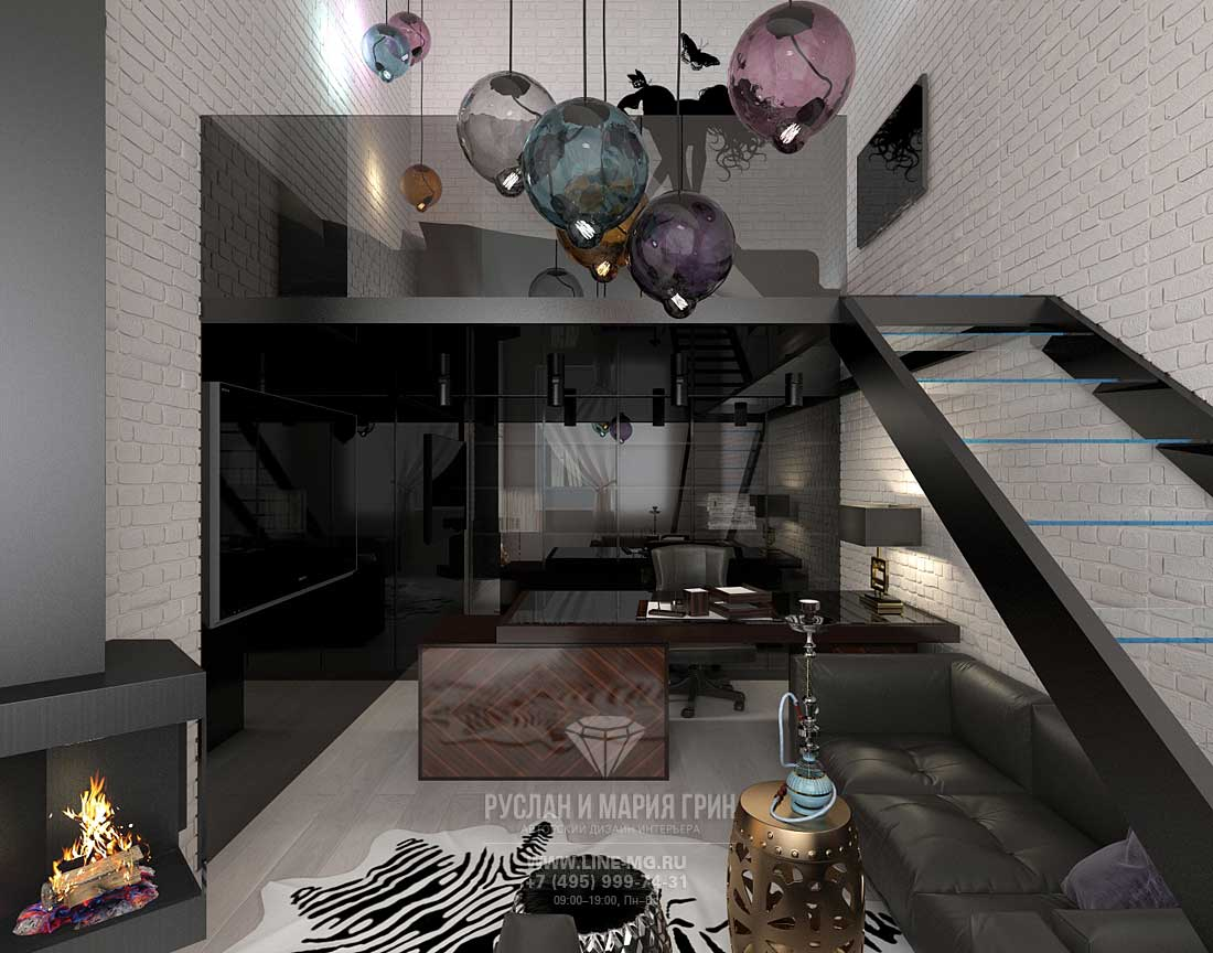 Двухуровневый кабинет с гостиной в современном стиле