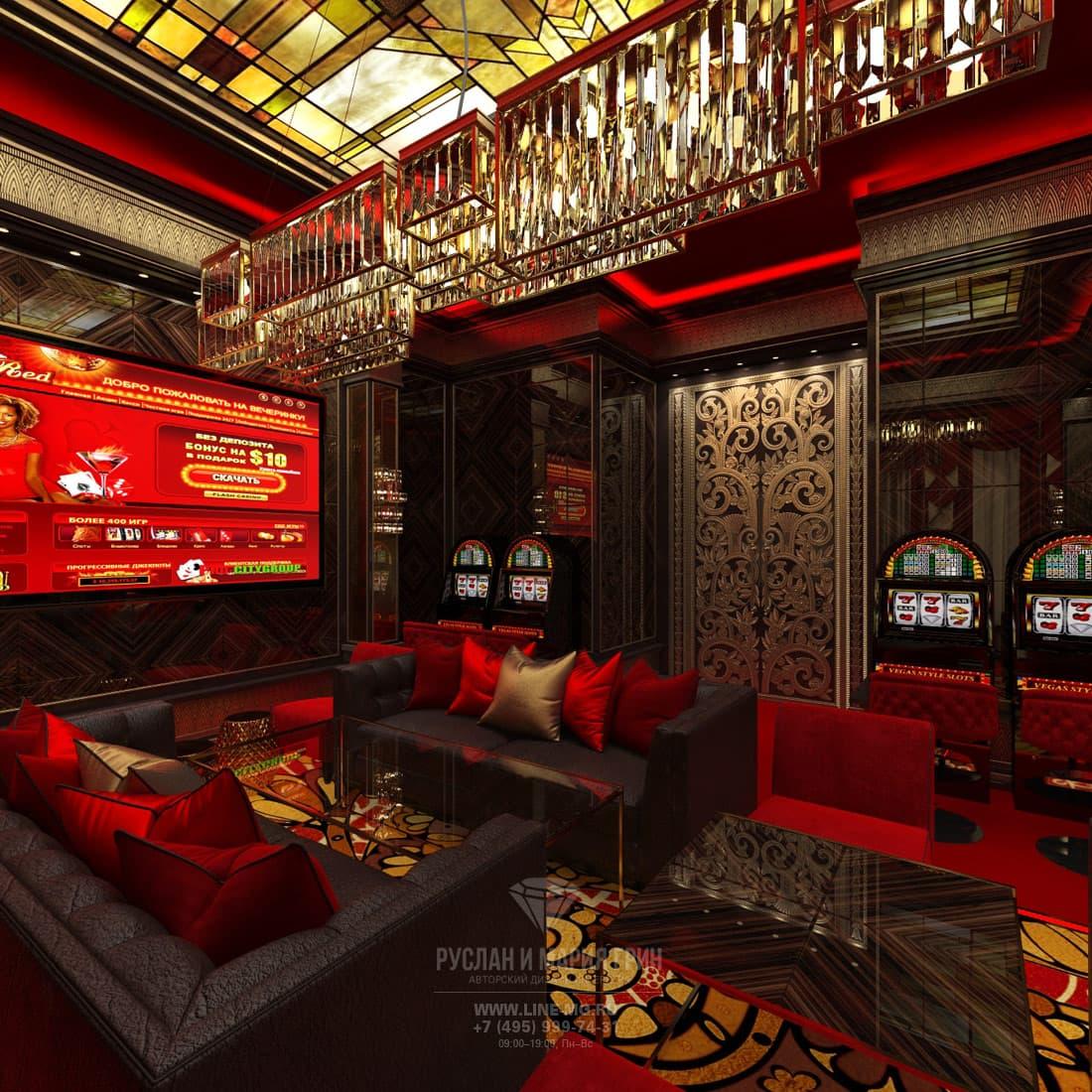 Дизайн-проект интерьера VIP казино в стиле ар-деко. Диванная зона