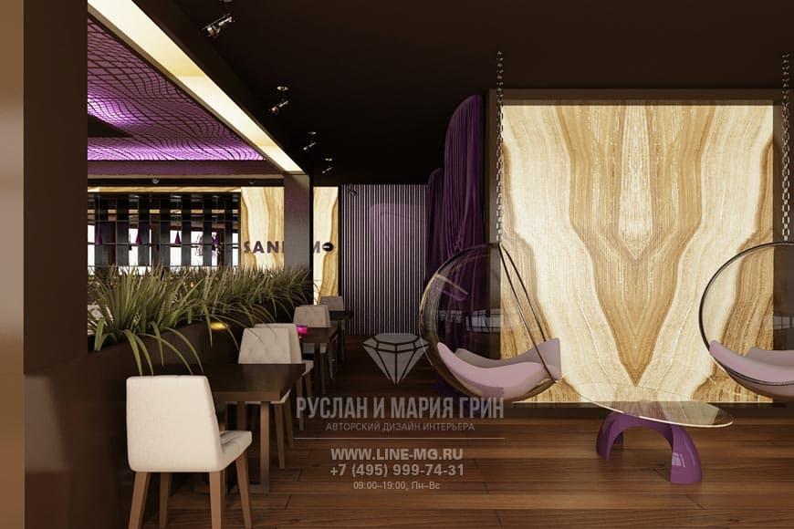 Дизайн ресторана с отделкой ониксом