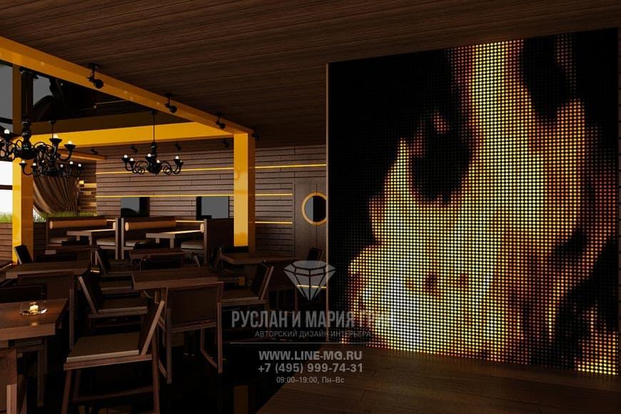 Светодиодная панель в ресторане
