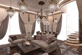 Дизайн гостиной в классическом стиле в доме на Мосфильмовской