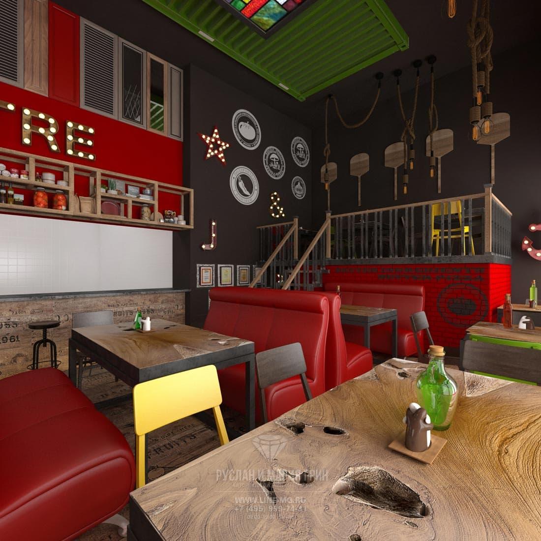 Оформление стен лофтового пространства пиццерии