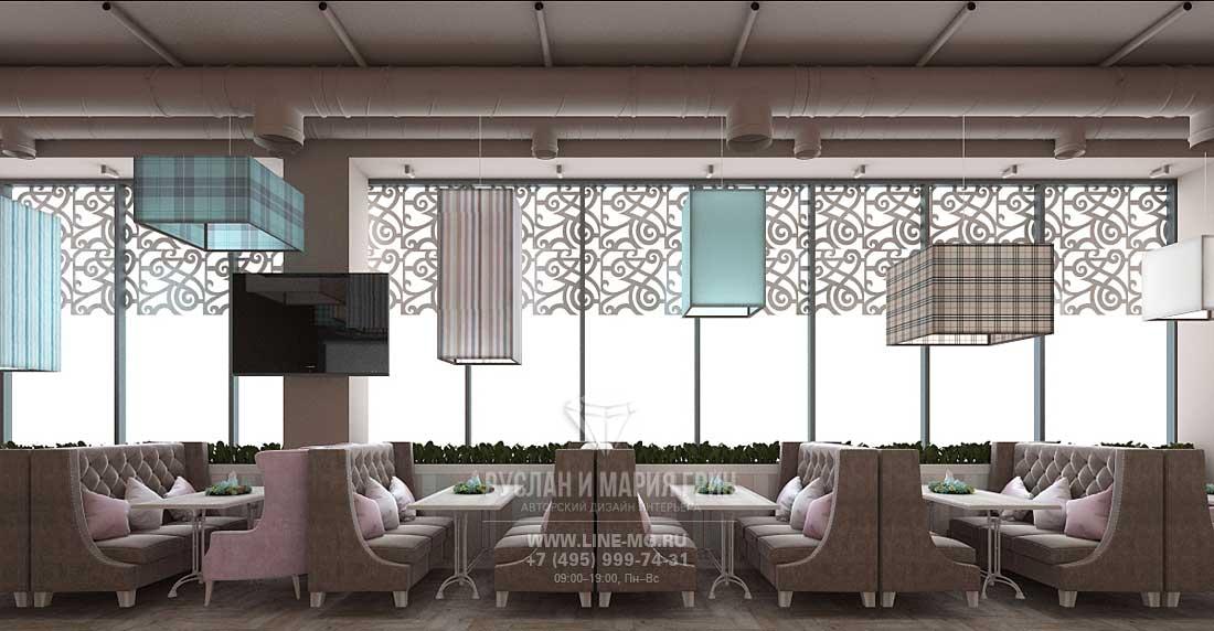Оформление столиков у панорамного окна в городском кафе