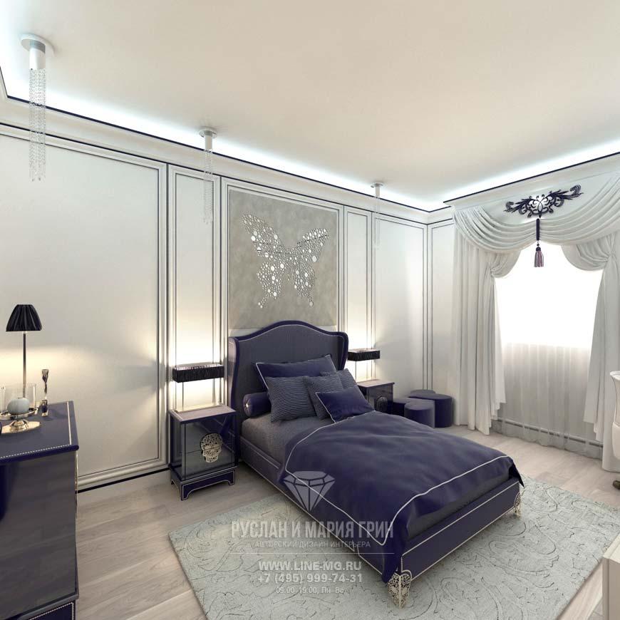 Современная спальня с лиловым акцентом
