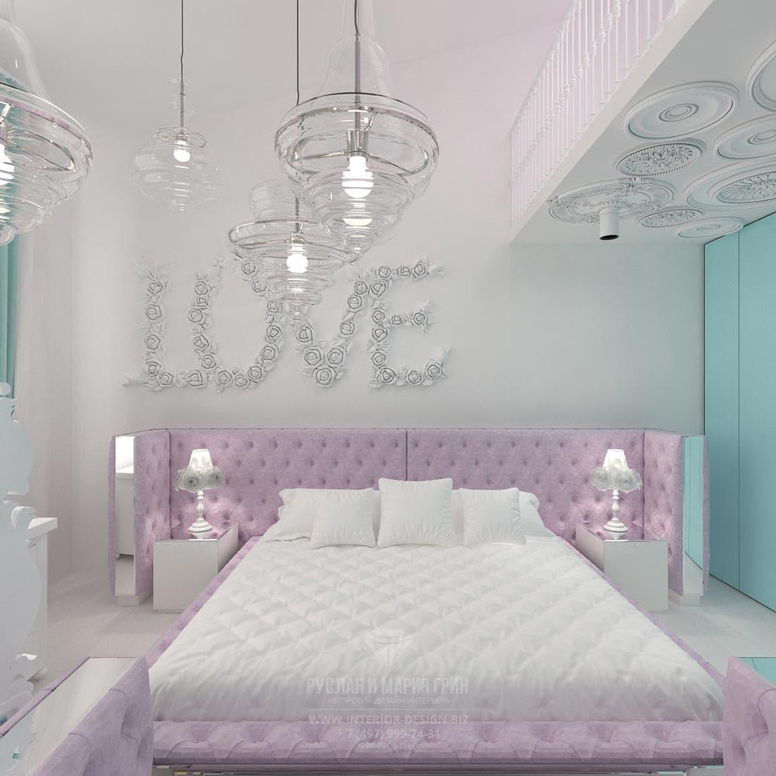 Каретная стяжка в отделке изголовья кровати