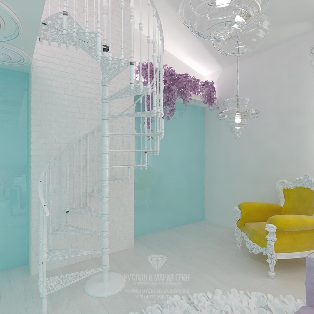 Белая винтовая лестница в интерьере детской